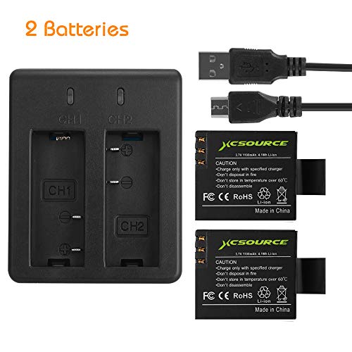 XCSOURCE 2X1100mAh Battery Rechargeable + USB Dual Battery Charger Action Camera Battery Compatible for SJ4000 SJ5000 SJ6000 SJ7000 SJ8000 SJ9000 SJCAM/VTin/DBPOWER camera etc.BC495