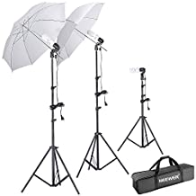 "Neewer® Photography Studio Day Light Umbrella Lighting Kit, Kit includes: (2)75""/1.9m Tall Photography Studio Light Stands + (1)20""/50cm Table Top Light Stand + (3)Single Head Light Holder + (2)White Translucent Umbrella + (3)110V 45W Day-Light Studio Light Bulbs + (1)Convenient Carrying Case"