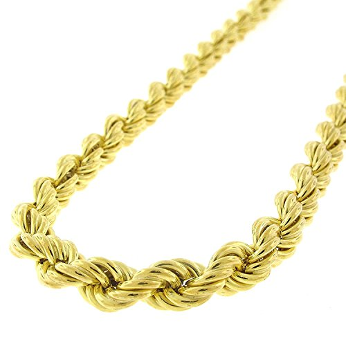 (Sterling Silver 6mm Hollow Rope Braided Link - 18K Yellow Gold Plated - Light-Weight Twisted 925 Necklace Chain - 20