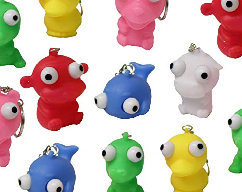 Curious Minds Busy Bags 12 Animals with Pop-Eyes Novelty Key Chain - Sensory, Gag, Stress, Fidget Toy OT ()