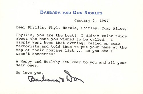 Don Rickles - Typed Letter Signed 01/03/1997