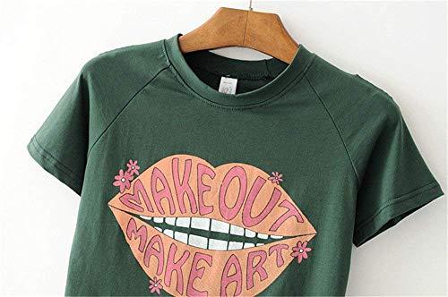 Collo Di Smanicato Labbra Moda Hippie Digitale Moda Donna Estivi Top Dolce The Estilo Especial Rotondo Crop Magliette Stile Green Camicetta g1qzZ