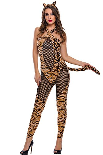 [LOBiI78lu Women's 2pcs Adult Tiger Kitty Cosplay Halloween Costume] (Sexy Fairy Halloween Costumes)