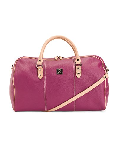 I Medici Tuscan Italian Leather 21'' Carry-on Duffel Luggage with Strap Magenta by I Medici