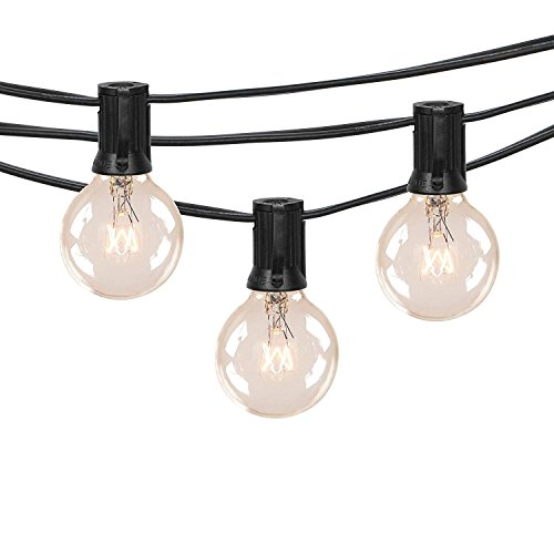 Outdoor G40 String Lights, Vintage Backyard Patio Lights with 25 Clear Globe Bulbs-UL listed for Indoor/Outdoor Use, Globe Wedding Light String, Umbrella String Lights 25FT(Same as Brightown) (Globe Party Lights)