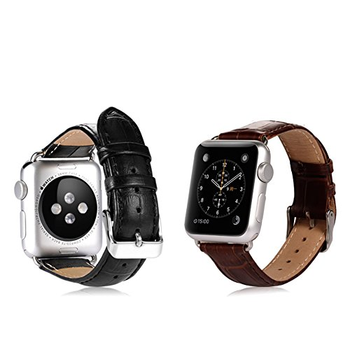 Apple Watch Band, Benks® Classical Watch Band Cowhide Genuine Leather Strap Wrist Band Replacement Metal Clasp for Apple Watch - Brown