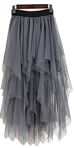 (Onlybridal Women's Mesh Tulle Skirt Formal High Low Asymmetrical Midi Tea-Length Elastic Waist Skirt Grey)
