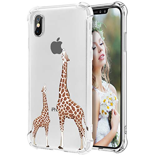Hepix iPhone Xs Max Clear Case Cute Giraffe Xs Max Phone Cases Flexible Protective Cover Cases with Reinforced Bumpers Soft TPU Anti-Scratch Case for Apple iPhone Xs Max 6.5Inch