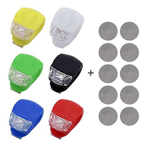 INNOLIFE- 6Pcs Mixed Color Set Silicone Water Resistant Super Frog LED Bicycle Bike Head Front Rear Light (6 Mixed Colors)+ 10 3V Batteries