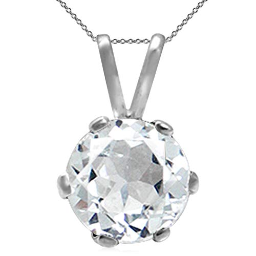 1ct. Genuine White Topaz 925 Sterling Silver Solitaire Pendant w/18 Inch Chain Necklace