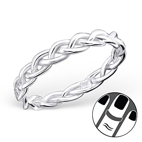 Pro Jewelry 925 Sterling Silver Braided Above Knuckle Ring Mid Finger Top 6665