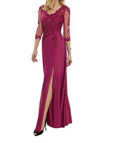 Ausschnitt Fuchsia Damen Spitze Fuchsia Brautmutterkleider V Abendkleider Langarm Charmant Abschlussballkleider 84paxx