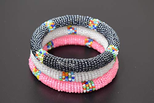 Set of 3 African Bracelet - Maasai Bangles - Africa Gift - Handmade in Kenya - Small/Medium - White, Dolphin Grey, Pink, KB21