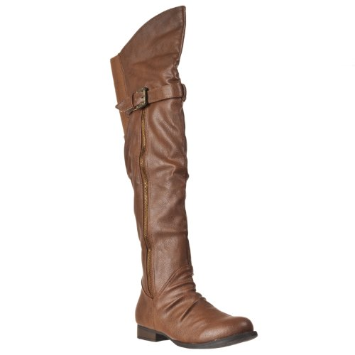 Fashion Rascal Zipper Chestnut Knee Bamboo Womens high detailed Boots vYSEwW5q