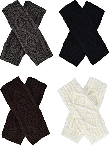 Tatuo 4 Pairs Women's Crochet Fingerless Gloves Knit Arm Warmers Sleeves Rhombus Gloves Thumb Hole Mittens (black, dark gray, white, ()