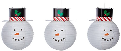 Round Snowmen Lanterns With Hat, 3 Ct. | Christmas Decoration
