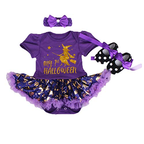 BabyPreg Infant Girl's First Halloween Pumpkin Dress, Baby Thanksgiving Dress (Purple, M 6-9 Months) ()