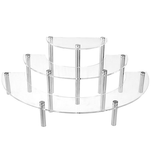 3-Tier Clear Acrylic Semicircle Round Cupcake Dessert Display Stand, Set of 2