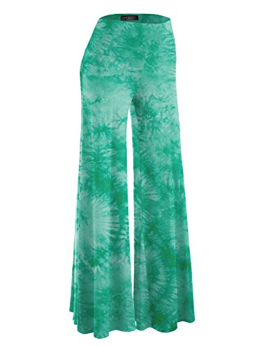 - Made By Johnny WB1060 Womens Chic Tie Dye Palazzo Pants L Jade