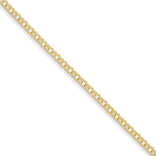 Best Designer Jewelry 14k 3mm Solid Double Link Charm Bracelet by Jewelry Brothers Bracelets