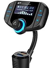 Trasmettitore fm Bluetooth da Auto Quick Charge 3.0,Caricabatterie Auto con Duale Porte USB(5V 2.4A& QC 3.0A), Supporta Chiamate Vivavoce Bluetooth/Riprodurre Musica da Cellulare o Carta TF