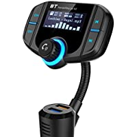 Bluetooth FM Transmitter, GRDE Wireless Bluetooth Receiver Car Kit Adapter with Quick Charge 3.0 USB Car Charger, AUX Input/Output, TF Card Slot and LED Display