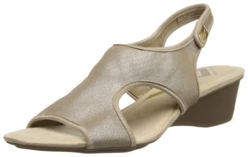 Anne Klein Sport Womens Olimpia Fabric Wedge Sandal,Black,10 M US Gold
