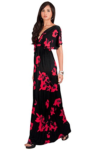 Silk Kimono Dress (KOH KOH Plus Size Womens Long Kimono Short Sleeve Floral Summer V-Neck Flowy Sundress Sundresses Print Cute Casual Evening Kaftan Sun Gown Gowns Maxi Dress Dresses, Red 2 X 18-20)