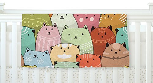 KESS InHouse Snap Studio Kitty Attack Cat Illustration Fleece Baby Blanket 40 x 30 [並行輸入品]   B077Z4HL98