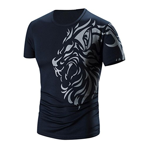 PHOTNO Fashion Men Boy Summer Printing Short Sleeve Shirt Casual Cotton T Shirt