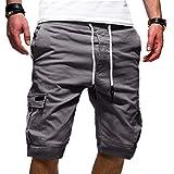 Ninasill Hot!Men's tethered Tooling Shorts Solid Color Elastic Waist with Pocket Sports Shorts Large Size Beach Shorts Dark Gray