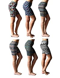 Sexy Basics Womens 6 Pack Buttery Soft Brushed Active Stretch Yoga Bike Short Boxer Briefs