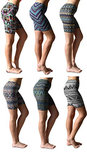 Sexy Basics Womens 6 Pack Buttery Soft Brushed Active Stretch Yoga Bike Short Boxer Briefs (6 Pack- Tribal Prints, Large) (Womens Seamless Basic Shorts)