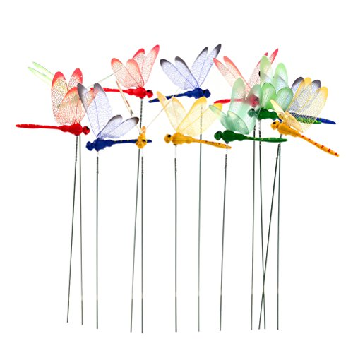 WarmShine 24 Pieces 3D Dragonfly Planter Dragonflies Garden Ornaments Patio Decoration Dragonfly Stakes with Sticks, 4 Colors