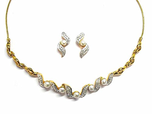 Margarita Pearl Desire Designer Necklace with Designer Earrings in Austrian Crystal Diamonds with Gold Two for Women