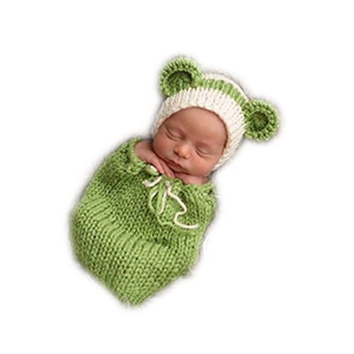 Fashion Unisex Newborn Girl Boy Baby Knitted Photography Props Christmas Bear Hat Sleeping Bag