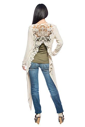 Shabby Chic Clothing - Women's Oatmeal Crochet Doily Back Shabby Chic Boho Long Shrug Jacket Cardigan (Medium)