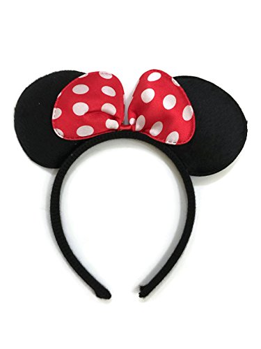 [Rush Dance Red Minnie Mouse Ears Birthday Party Favor Bow Accessories Headband] (Mickey Dress)
