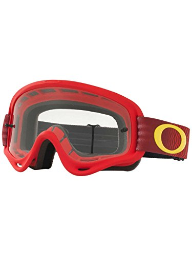 Oakley XS O Frame Shockwave Red Yellow with Clear unisex-child Goggles (Red, Small), 1 - Moto Oakley