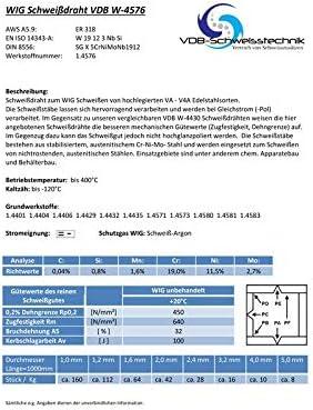 3,0 Kg V4A 4576 Schwei/ßdraht WIG Edelstahl 1.4576-2,0 x 1000 mm