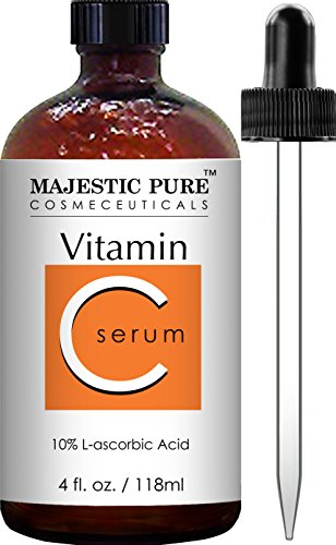 Majestic Pure Vitamin C Serum - Anti Aging Skin Brightening Facial Serum for Face and Neck with L-ascorbic Acid, 4 fl. oz.