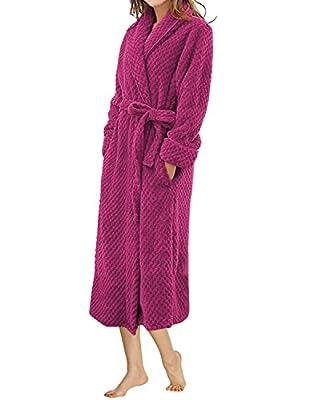 LAPAYA Women's Long Bathrobe Shawl Collar Full Length Soft Warm Plush Fleece Robe