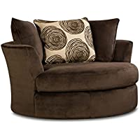 Chelsea Home Furniture Rayna Swivel Chair, Groovy Chocolate/Big Swirl Chocolate