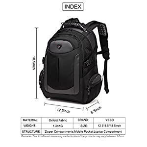 Laptop Backpack for Men, with Water Resistant Durable Oxford Fabric Casual Travel Business School College Unisex Men Women Fits 17 Inch Notebook Computer Tablet, Black by YESO