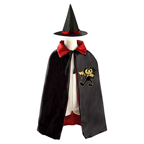 Bendy Child Halloween Cloak Witch Wizard Hat Costumes Witch Cap Suit Reversible Kids Child Boys Girls Cosplay (Alvin Costumes)