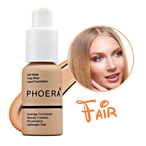 Phoera Matte Liquid Foundation, Concealer Cover Full Coverage Soft Matte, Oil Control Concealer, Brighten,Long Wear, Lightweight Feel Naturally for Women All Day Flawless 30ml (104# Buff Beige)