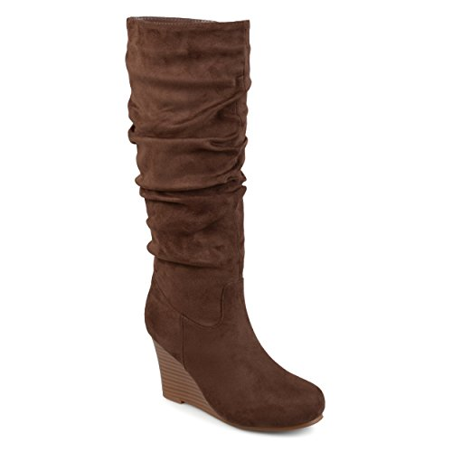 Journee Collection Womens Regular and Wide Calf Slouchy Mid-Calf Wedge Boots Brown, 8.5 Wide Width (Mid Calf Wedge Boots)