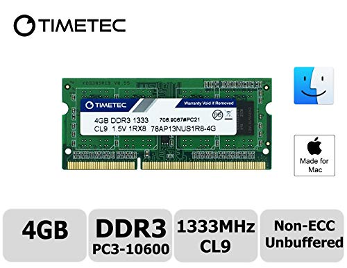 Timetec Hynix IC Apple 4GB DDR3 1333MHz PC3-10600 SODIMM Memory upgrade For MacBook Pro 13/15/17 inch Early/Late 2011,iMac 21.5-inch Mid/Late 2011,27-inch Mid 2011,Mac mini 5,1 & 5,2 Mid 2011 (High Density 4GB) by Timetec