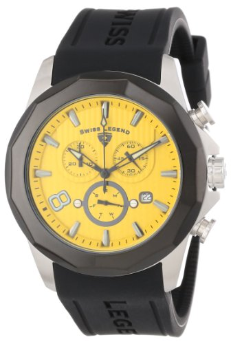 Swiss Legend Men's 10042-07-BB Monte Carlo Chronograph Yellow Textured Dial Black Silicone Watch (Dial Yellow Textured Chronograph)