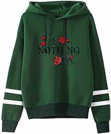 5a360583d69a6 Womens Girls Ladies Print Long Sleeve Casual Hoodies Pullovers Sweatshirt  Shirts Blouse Crop Tops S-